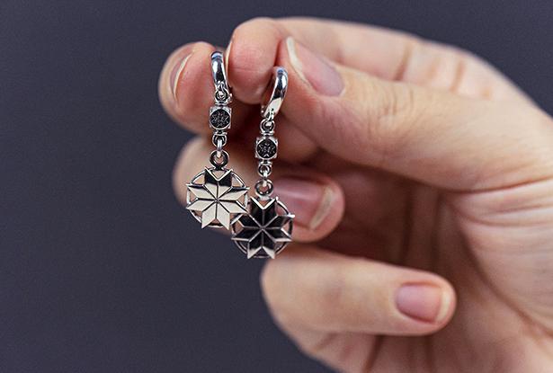 купить обереги из серебра, серьги алатырь серебро купить