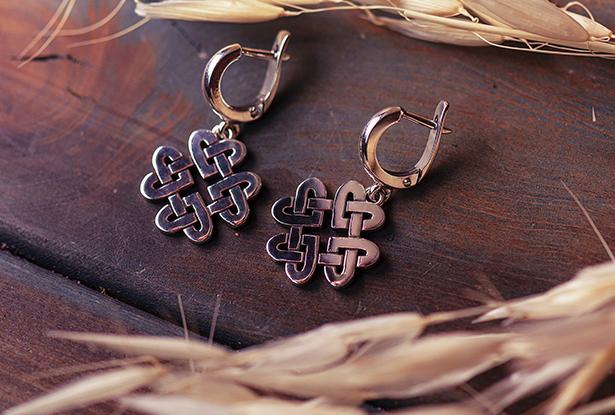 серьги серебро, серебряные серьги, купить серьги из серебра, серьги оберег, купить серьги серебро, серьги серебро купить, серьги макошь, оберег макошь, узел любви, оберег на любовь
