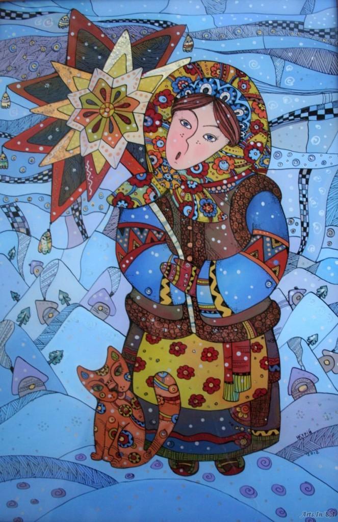 Девушка в старославянской одежде с символом язычества