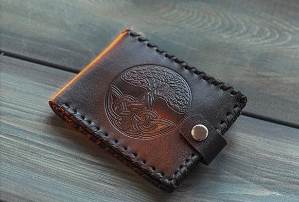 кожаный кошелек ручной работы купить