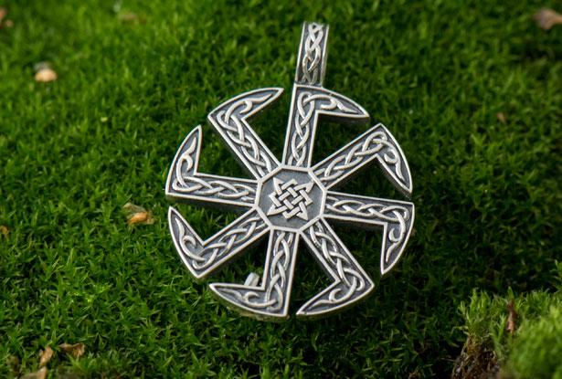 мужской серебряный кулон, славянские обереги из серебра квадрат сварога