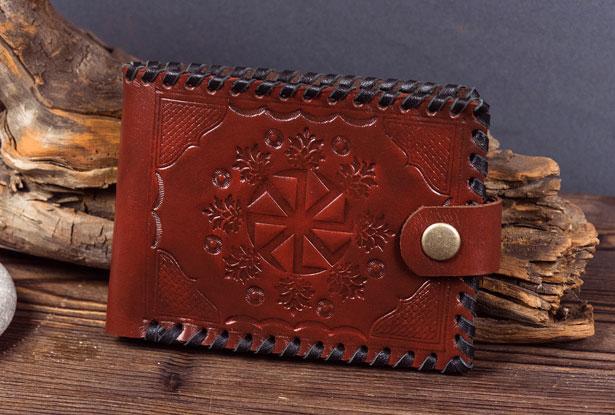 бумажник мужской кожаный ручной работы, бумажник коловрат