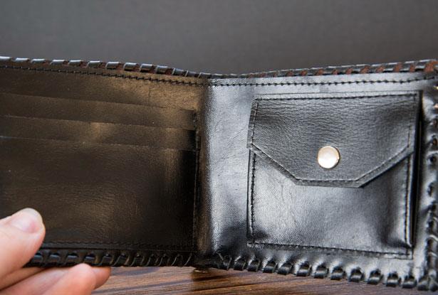 бумажник из кожи, славянский знак велеса